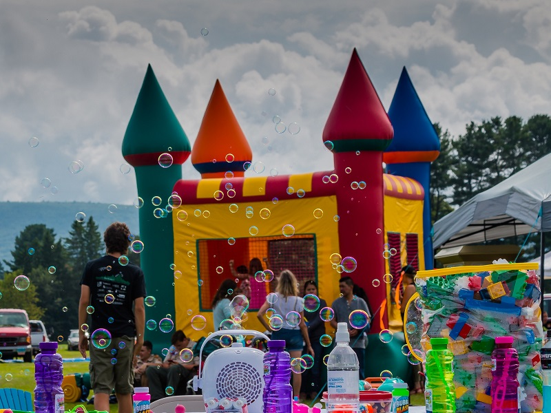 Bounce castle at party