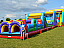 Rock Climb Slide connected to the 40 feet long obstacle course and the Vertical Rush to make a 100 FEET LONG OBSTACLE COURSE!!  The largest inflatable obstacle course in Orlando, FL!