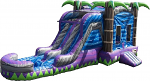 Purple Paradise Combo - Bounce House w/Dual Lane Water Slide & Pool