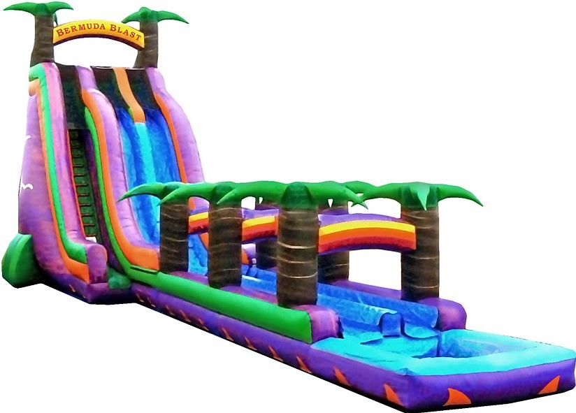Bermuda Blast Double Lane Water Slide w/Slip n Slide - 30 feet tall, 70 feet long w/Pool