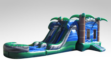 Blue Crush Combo - Bounce House w/Dual Lane Water Slide & Pool
