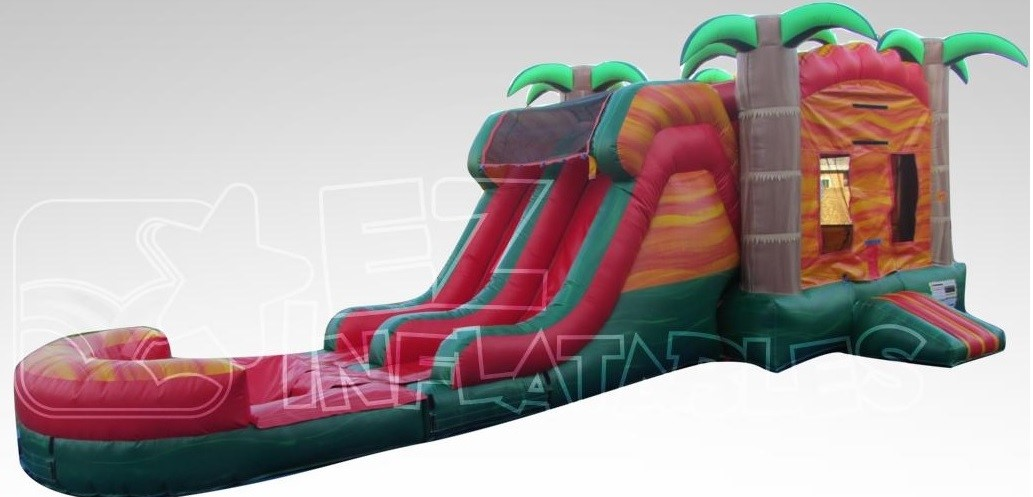 Tropical Fiesta Breeze - Bounce House w/Dual Lane Water Slide & Pool