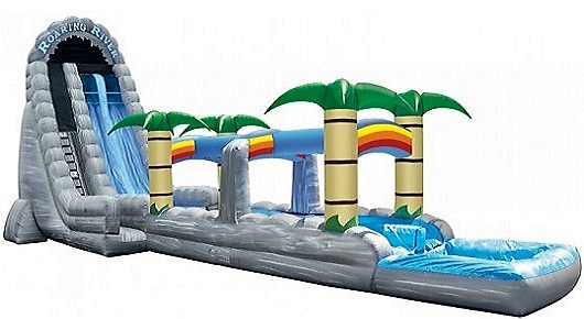 Roaring River Double Lane Water Slide w/Slip n Slide - 30 feet tall, 70 feet long w/Pool