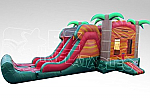Tropical Fiesta Breeze Combo - Bounce House w/Dual Lane Dry Slide & Basketball Hoop