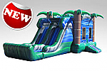 Blue Crush Combo - Bounce House w/Dual Lane Dry Slide & Basketball Hoop